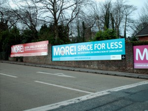 Temporary hoarding panels for a new Miller Homes Development