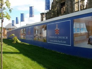 Header and Kicker panels installed on a hoarding project for Charles Church