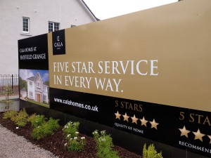 Branded hoardings for a new CALA Homes site launch
