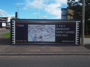 Header and Kicker panels installed on a hoarding project for KIER Development