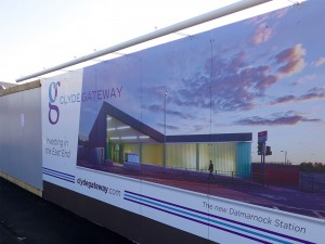 Temporary hoarding panels for a Clyde Gateway Developments