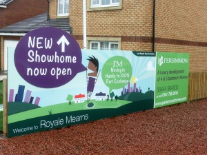 Temporary hoarding panels for Persimmon Homes